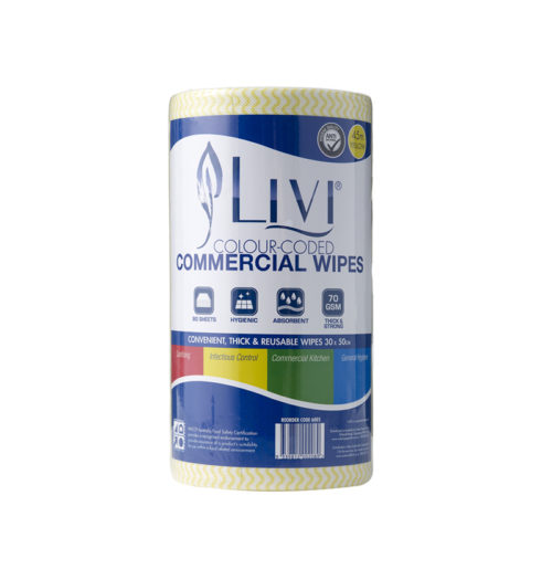 Livi Commercial Wipes Yellow Anti-bacterial