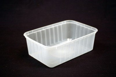 1000ml Rectangle Ribbed Clear