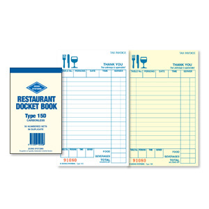 15D - Carbonless Duplicate Restaurant Docket Book