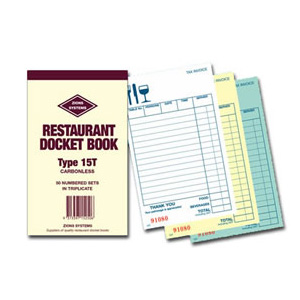 15T - Carbonless Triplicate Restaurant Docket Book
