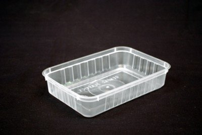 500ml Rectangle Ribbed Clear